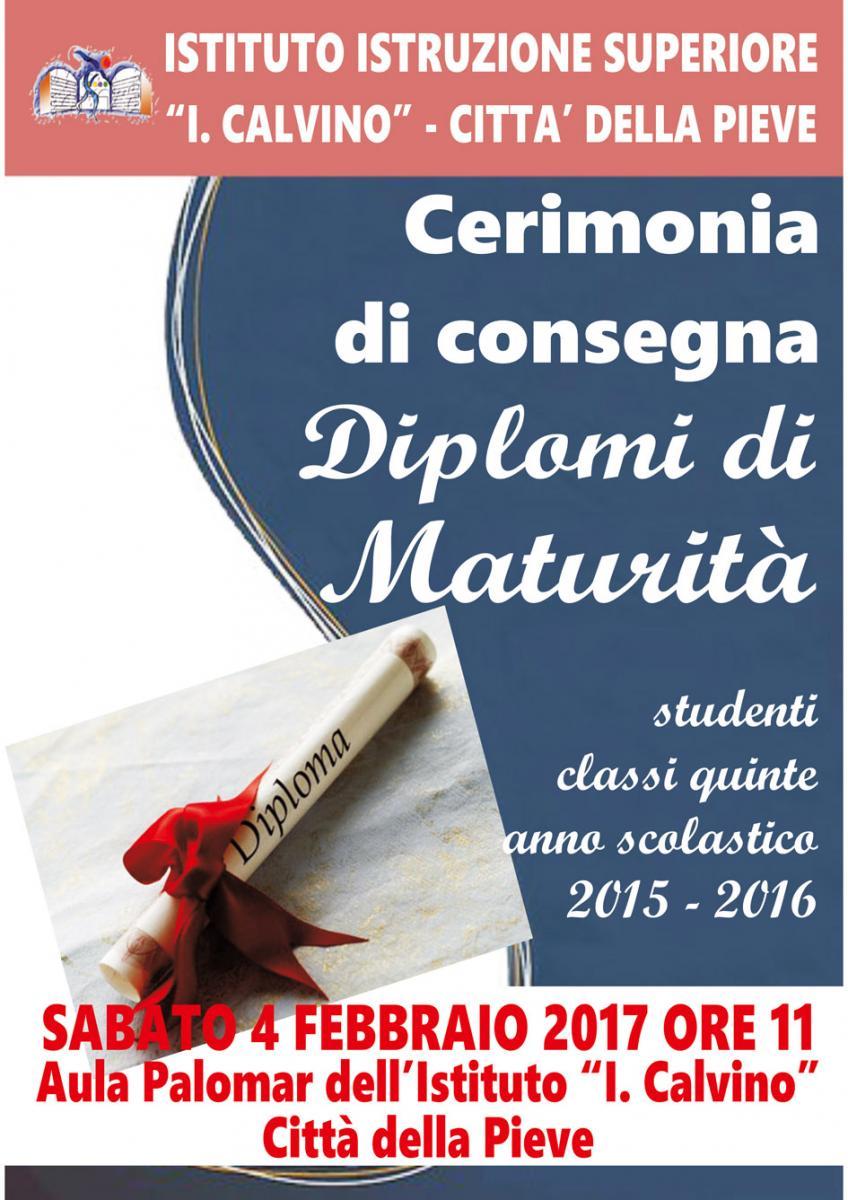 Cerimonia consegna diplomi esame di stato 2015 2016 for Istituto superiore